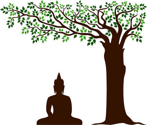 buddha under tree wall decal, deewar sticker, वॉल डेकल