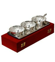 Silver Plated Brass Bowl Set 7 Pcs. (Bowls 4 Diameter & Tray 13x5.5)