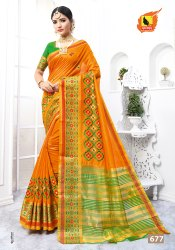 Ashika Casual Wear Cotton silk embroidery saree, With Stitched Blouse, 5.5 m (separate blouse piece)