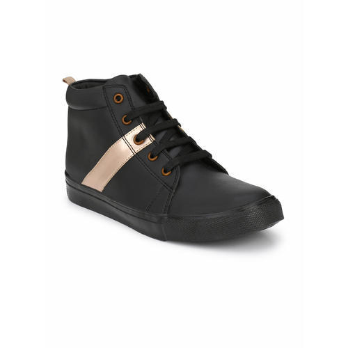 Tuskey Boys Casual Black Gold Shoes, Rs