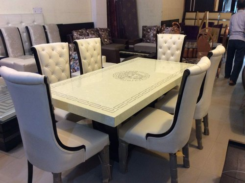 Six Seater Dining Table Set With Composite Marble Top