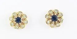 14K Sapphire Gemstone Diamond Yellow Gold Earring