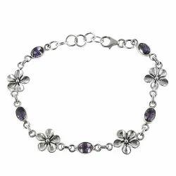 Royal Amethyst Gemstone Silver Bracelet