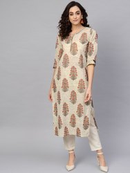 Cotton Cambric Sequin Work Straight Kurta
