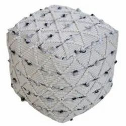 Handmade Pouf Designer Natural Color Wool and Cotton Pouf