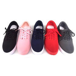 Casual Wear Black & Pink Ladies Canvas Shoes