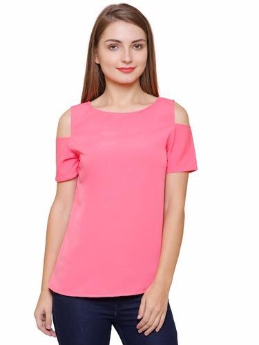 6da20f4488d7e Half Sleeves Cold Shoulder Pink Top
