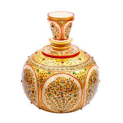 Marble Surahi With Fine Gold Work