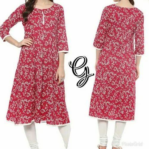 Ladies Casual Wear Red Round Neck Printed Anarkali Kurti