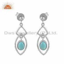 Fine Sterling Silver Arizona Turquoise Gemstone Womens Earring