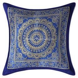 Ink Blue Brocade Mandala Pillow Case Cushion Covers