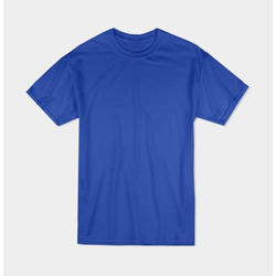 Men Cotton Blue Half Sleeve Plain T-Shirt