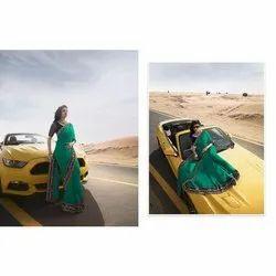 Green Ladies Chiffon Border Saree, 6 m (with blouse piece)