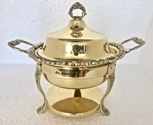 Round Mini Brass Ambassador Chafing Dish, Capacity: 2.5 L