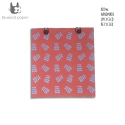 Beautiful eco friendly and unique gift bag with buttons - red paper and blue twig leaf print