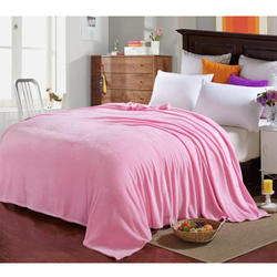 Pink Plain Silk Double Bed Blanket