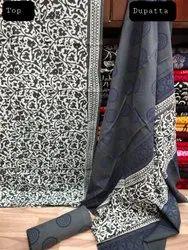 Rapit Kalamkari Print Cotton Dupatta Suit Fabric