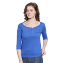 Women 100% Cotton Solid Dark Blue Henley T-shirt