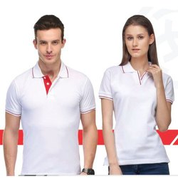 Male and Female Plain and printed Lycra Cotton Polo T-Shirt