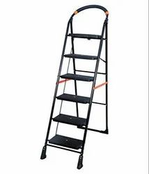 Parasnath Black 6 Steps Folding Ladder with Wide Steps