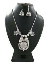 Oxidized Silver Plated Artificial Necklace With Earrings