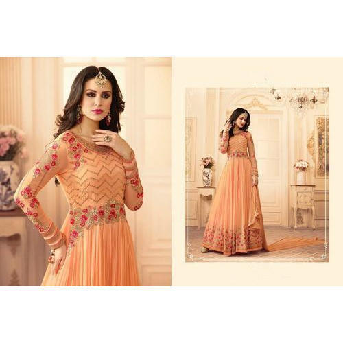a25eeb224cc Ladies Net Embroidered Party Wear Anarkali Suit