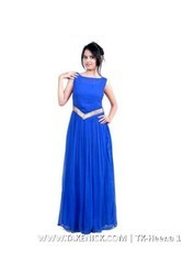 A Line Flared Indian Plain Blue Georgette Semi Stitched Gown