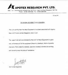 Testimonial from Apotex Research Pvt Ltd