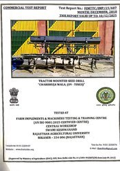 Seed drill commercial test report
