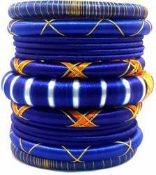 Blue silk thread bangle set