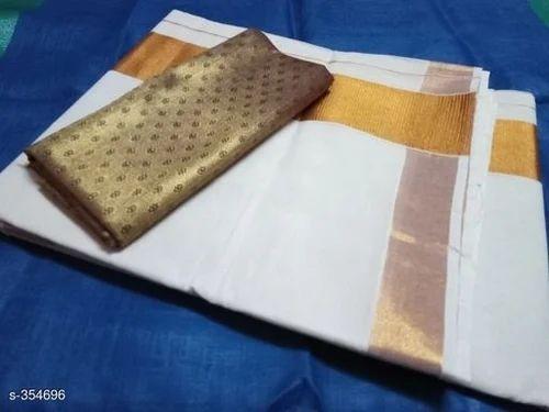 7231e17447 White Cotton Kerala Traditional set mundu kasavu onam saree, Blouse Size:  Free, Construction