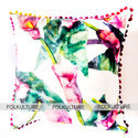 Multiple Floral Leaf Theme Taffeta Cushion Cover With Pom Border