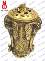 Flower Pot With 2 Elephant & Lid