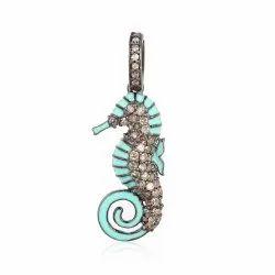 Pave Diamond Seahorse Pendant