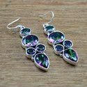 Mystic Topaz Gemstone 925 Sterling Silver New Earring