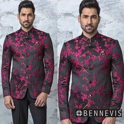 Wedding Embroidered Black Jacquard Designer Jodhpuri Suit