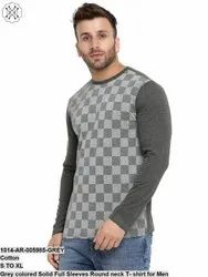 Gritstone Grey Colored Solid Full Sleeves Round Neck T- Shirt for Men