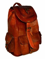 Genuine Leather Vintage Brown Unisex Travel Backpacks