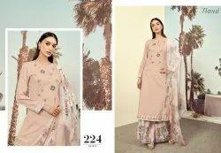 Itrana Unstitched Cotton Embroidery Suit, Handwash