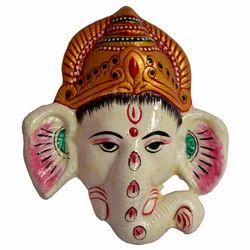 Metal Ganesha Face Mask With Meena Work