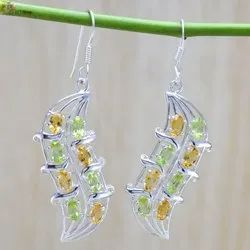 Citrine & Peridot Gemstone 925 Sterling Silver Jewellery Earring