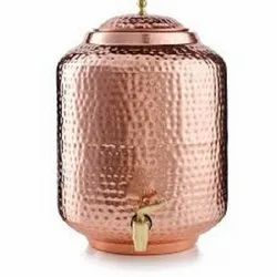Cylindrical Hammered Copper Water Tank