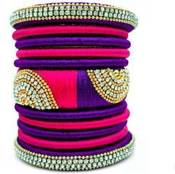 Pink And Blue Silk Thread Bangle Set