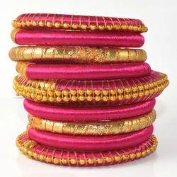Pink Girls Silk Thread Bangles