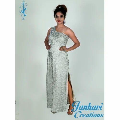 3fc74e16076 Party Wear Silver Color Slits Dress