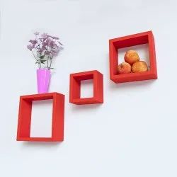 Red Square Wooden Wall Shelves for Home