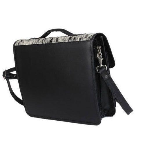 d75d72269422 Black Plain Men  s Leather Laptop Bags