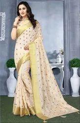 Cream Heavy Resham Embroidered Saree