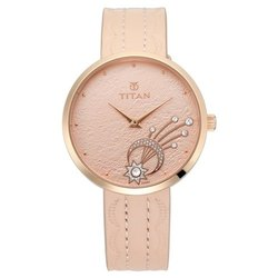 Cream Stellar By Titan Rose Gold Dial Analog Watch For Women