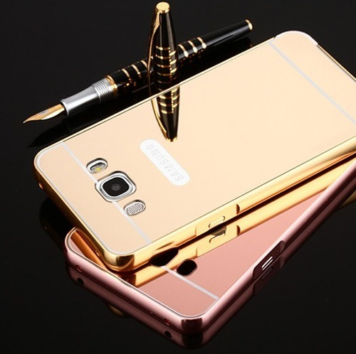 Golden Goldmirror Back Cover With Bumper For Samsung Galaxy J7-2016